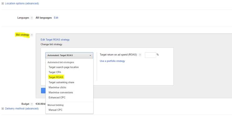 Afbeelding 1 - Screenshot van campagne-instellingen voor een biedstrategie met doel-ROAS.png