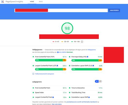 Afbeelding 2 de Core Web Vitals rapportage uit Pagespeed Insights van Google