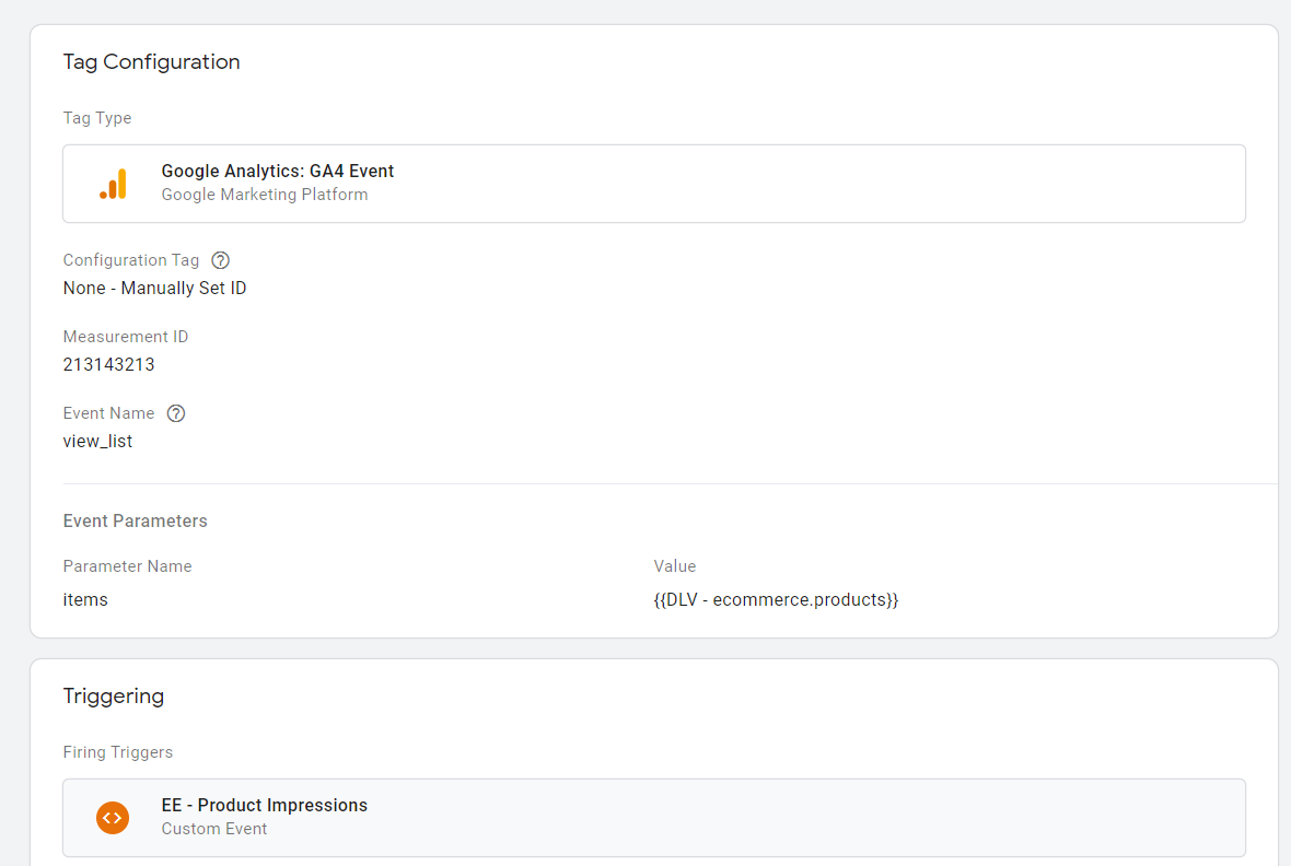 Afbeelding 2 voorbeeld van een Google Analytics 4 event