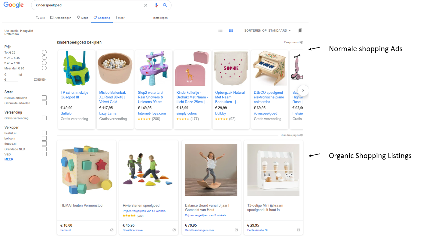 Afbeelding 8 een weergave van Google zijn Organic Shopping listings