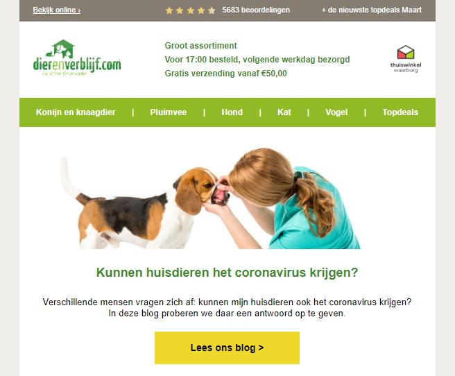 voorbeeld nieuwsbrief Dierenverblijf.com