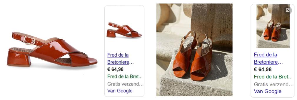 Afbeelding 6 voorbeeld van productafbeeldingen Fred de la Bretoniere. Controle-afbeelding links, testafbeelding rechts.