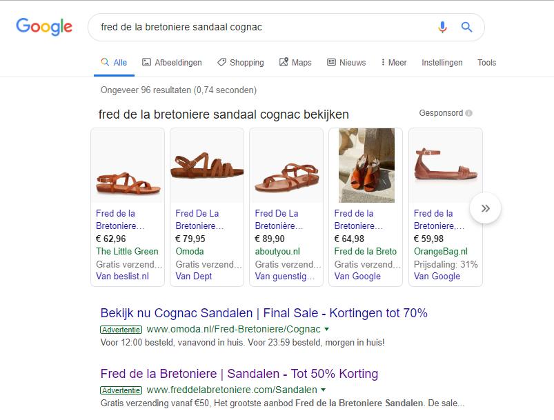 Afbeelding 7 voorbeeld van Google Shopping resultaten in Google van Fred de la Bretoniere met een contrasterende productafbeelding