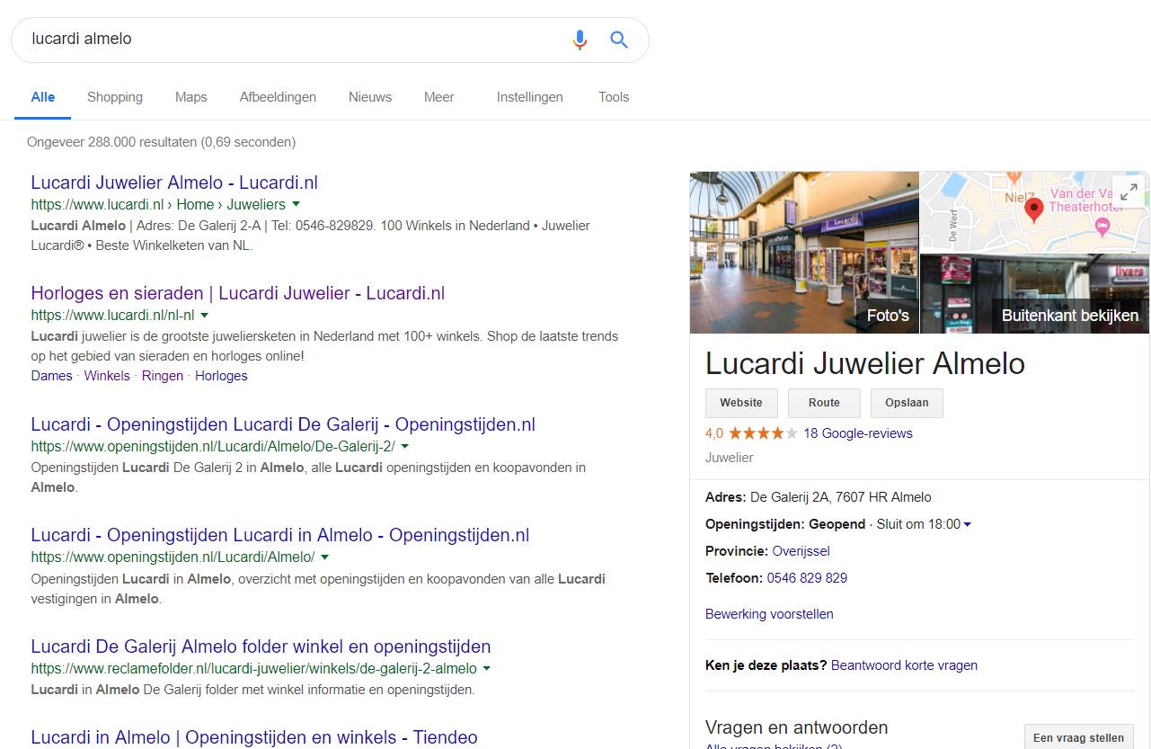 Afbeelding 2 lokale zoekresultaten zijpaneel