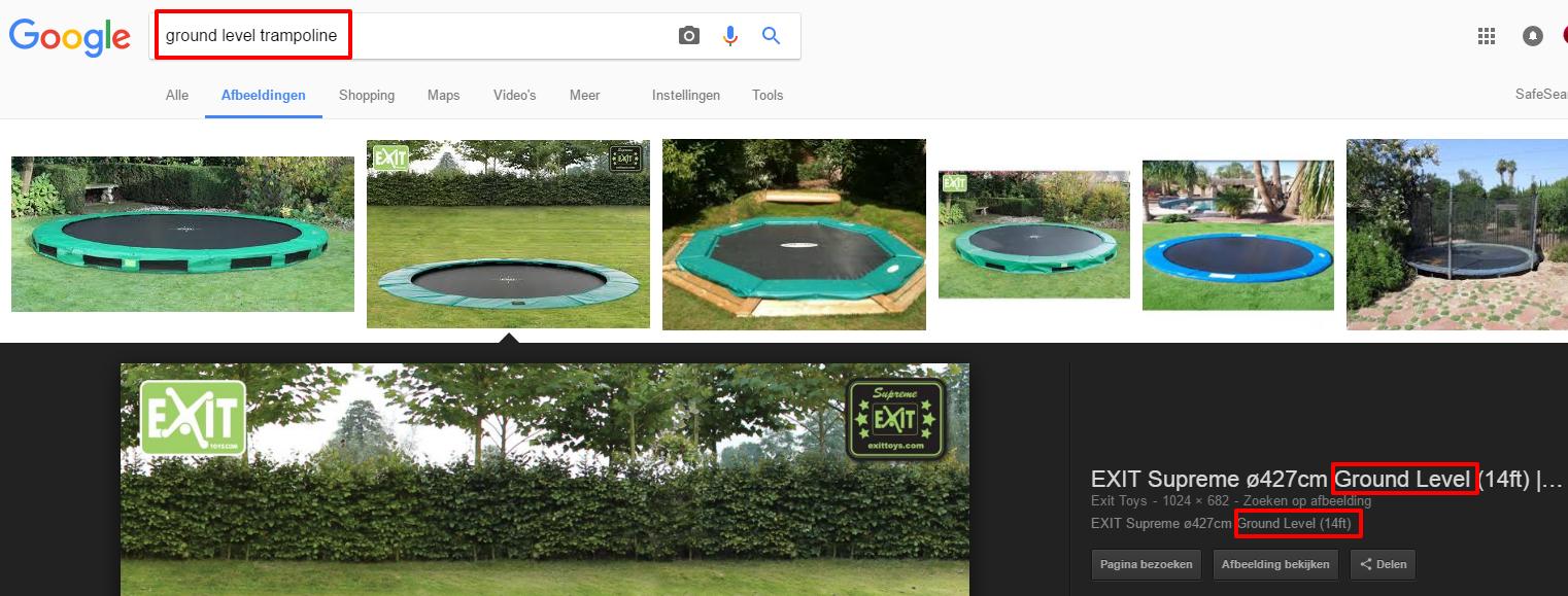 Afbeelding 13 - de resultaten van het zoekwoord ground level trampoline