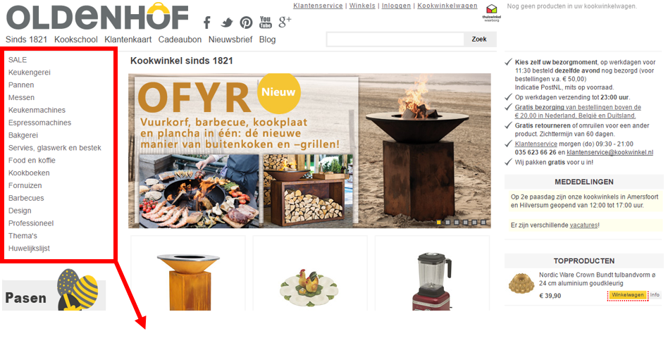Figuur 4 - Kookwinkel Oldenhof menu-items