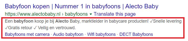Voorbeeld van een goede meta description