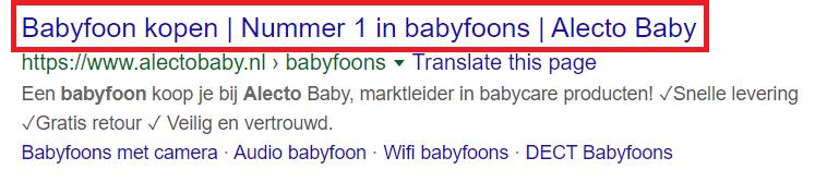Voorbeeld van een goede page title
