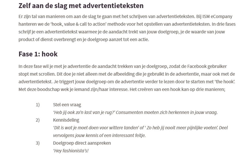 Preview WP facebook advertentieteksten