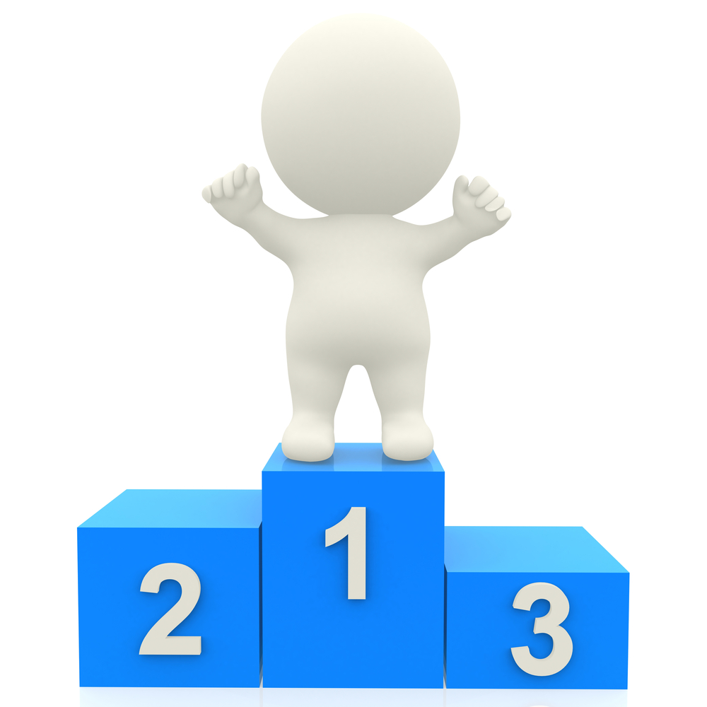 3d person in a podium winning first place - isolated over white